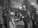 Field Marshal Mannerheim being greeted by Finnish girls at the 20th anniversary celebration of the libration of Viipuri, Finland, 1938