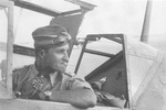 Hans-Joachim Marseille in the cockpit of a Bf 109 fighter, date unknown