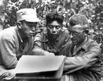Frank Merrill, Sun Liren, Chun Lee at Naubum, Burma, Apr 1944
