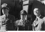 German Minister of Armaments Albert Speer, Field Marshal Erhard Milch, and aircraft designer Willy Messerschmitt inspecting a defense plant, Germany, May 1944