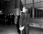 US Navy Mess Attendant First Class Doris Miller speaking during his war bond tour stop at the Naval Training Station, Great Lakes, Illinois, United States, 7 Jan 1943