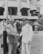 President Harry Truman with Vice-Admiral Marc Mitscher, White House, Washington DC, United States, 16 Jul 1946