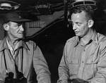 Mitscher and Commodore Arleigh A. Burke aboard USS Randolph off Okinawa, May 1945
