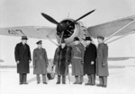 Prime Minister Mackenzie King visiting No. 110 (City of Toronto) Squadron RCAF, 30 Jan 1940; note Lysander aircraft in background