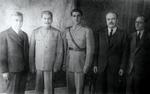 Joseph Stalin, Mohammad-Reza Shah, and Vyacheslav Molotov, Tehran, Iran, late Nov or early Dec 1943