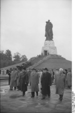 Hermann Matern, Otto Grotewohl, Vyacheslav Molotov, and Walter Ulbricht at the Soviet War Memorial, Berlin-Treptow, East Germany, 7 Oct 1954