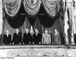 Vyacheslav Molotov, Heinrich von Brentano, Konrad Adenauer, Nikolai Bulganin, Nikita Khrushchev, and Mikhail Pervukhin at a performance of Romeo and Juliet at the Bolshoi Theatre, Moscow, Russia, 10 Sep 1955