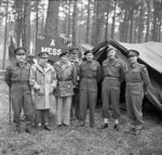 Montgomery visiting Canadian troops in the Kleve-Goch sector, Germany, 26 Feb 1945; left to right: Vokes, Crerar, Montgomery, Horrocks, Simonds, Spry, Mathews