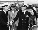 Rear Admiral W. L. Friedell greeting Lieutenant Commander Dudley Morton, Mare Island Navy Yard, Vallejo, California, United States, 29 May 1943; note Morton
