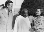 Viceroy of India Louis Mountbatten, Mahatma Gandhi, and Lady Edwina Mountbatten, Government House, New Delhi, India, 1947, photo 2 of 4