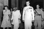 Lady Edwina Mountbatten, C. Rajagopalachari, and Lord Louis Mountbatten at Darbar Hall of Government House, New Delhi, India, 1947