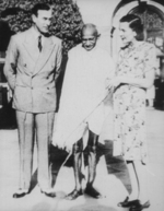 Viceroy of India Louis Mountbatten, Mahatma Gandhi, and Lady Edwina Mountbatten, Government House, New Delhi, India, 1947, photo 4 of 4