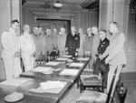 Louis Mountbatten, John Dill, Hastings Ismay, Ernest King, Henry Arnold, William Leahy, Kenneth Stuart, Percy Nelles, and George Marshall at Château Frontenac during Quebec Conference, Canada, Aug 1943