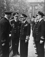 King George VI inspecting the headquarters of Combined Operations in Britain, 29 Sep 1942; note Louis Mountbatten and Mountbatten