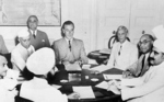 Louis Mountbatten, Jawaharlal Nehru, and Muhammad Ali Jinnah discussing the partition of India, 1947
