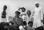 Louis Mountbatten, Edwina Mountbatten, and Jawaharlal Nehru during the independence ceremony of India, 15 Aug 1947