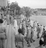 Louis Mountbatten and his Chiefs of Staff entering the Municipal Buildings in Singapore for the surrender ceremony, 12 Sep 1945
