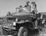 Louis Mountbatten observing Mandalay from a distance aboard a WC command car, Burma, 13-18 Jan 1945