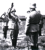 Spanish General Agustín Muñoz Grandes being inducted into German Army service, Grafenwöhr, Germany, 31 Jul 1941