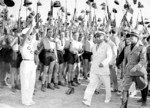 Benito Mussolini with Blackshirts, Rome, Italy, 1935