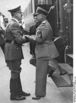 Adolf Hitler and Benito Mussolini at München, Germany for the Munich Conference, 29 Sep 1938, photo 1 of 9