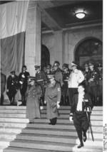 Mussolini and Hitler, Munich Conference, Germany, 29 Sep 1938, photo 2 of 2; Göring, Himmler, and Ciano in background