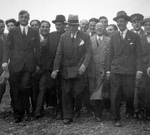 Mussolini visiting Alfa Romeo factory, hosted by Prospero Gianferrari (third from right), circa 1929-1933