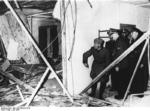 Adolf Hitler showing Benito Mussolini the wreckage after the unsuccessful assassination attempt on Adolf Hitler, Wolfsschanze, Rastenburg, Germany, late Jul 1944, photo 1 of 2