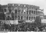 Benito Mussolini speaking before Italian youth on the western side of the Colosseum, Rome, Italy, Sep 1931