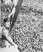Benito Mussolini speaking to the crowds from the balcony of the Palazzo Venezia, Rome, Italy, late 1930s