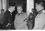 Neville Chamberlain and Benito Mussolini at the Führerbau building in München, Germany, 19 Sep 1938, photo 1 of 2