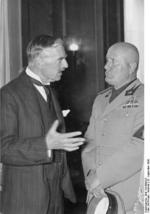 Neville Chamberlain and Benito Mussolini at the Führerbau building in München, Germany, 19 Sep 1938, photo 2 of 2