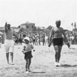 Benito Mussolini and his son Romano at Riccione, Italy, 1932