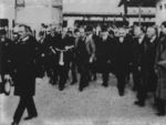 Benito Mussolini attending the inauguration ceremony of the new rail station at Busto Arsizio, Italy, 25 Oct 1924