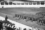 Benito Mussolini reviewing a military parade at the Stadio dei Marmi, Rome, Italy, 1932-1939