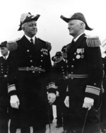 Rear Admiral Russell Willson relieving Rear Admiral Chester Nimitz as Commander US Navy Battleship Division One aboard USS Arizona, San Pedro, California, United States, 26 May 1939