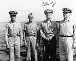 Admirals Spruance, Mitscher, Nimitz, and Lee aboard USS Indianapolis, Feb 1945