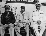 MacArthur, Roosevelt, and Nimitz aboard USS Baltimore, Pearl Harbor, US Territory of Hawaii, 26 Jul 1944, photo 2 of 3