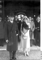 Prince Nobuhito with his wife during an unofficial visit to Berlin, Germany, 1 Aug 1930; photo taken at the Hotel Adlon