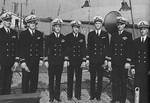 Officers of USS Tang shortly after commissioning, Mare Island Naval Shipyard, Vallejo, California, United States, 15 Oct 1943