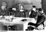 Lieutenant Colonel Galland, Colonel Mölders, and Major Lützowplatz celebrating Osterkamp