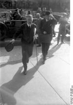 Chancellor Papen entering the Reichstag, Berlin, Germany, 12 Sep 1932