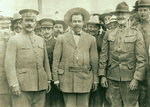 Mexican Generals Obregon and Villa with US General Pershing at Fort Bliss, Texas, United States, 1913; note Patton behind Pershing