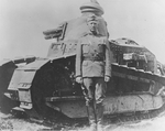 Lieutenant Colonel George Patton of US 1st Tank Battalion standing before a Renault light tank in France, summer 1918