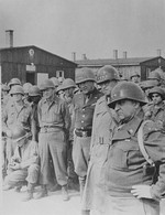George Patton, Omar Bradley, and Walton Walker touring the Ohrdruf Concentration Camp, Gotha, Germany, 12 Apr 1945