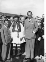 Crown Prince Paul of Greece with the first Olympic marathon winner Spiridon Louis at Tempelhof Airport, Berlin, Germany during the 1936 Summer Olympic Games, 30 Jul 1936