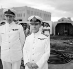British Royal Navy Rear Admiral Arthur Palliser and Admiral Sir Thomas Philips at Singapore, 2 Dec 1941
