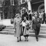 Eleanor Roosevelt, Mrs. Pibulsonggram, and Plaek Pibulsonggram at Hyde Park, New York, United States, 1955