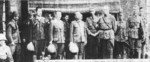 Lieutenant General Hitoshi Imamura, Lieutenant General Hein ter Poorten, and other officers shortly after ter Poorten surrendered to the Japanese, Kalidjati, Java, Dutch East Indies, 8 Mar 1942