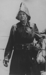 Lewis Puller dressed as Davy Jones during a line-crossing ceremony aboard USS Fuller, Apr 1942